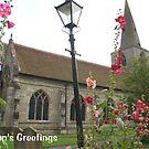 Christmas card - pretty English village church scene by BronReid