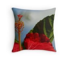 Close Up of Red Hibiscus Stamen and Pollen Throw Pillow