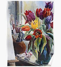 Studio Corner With Tulips Poster