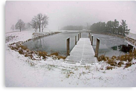 Snow on Pier, In Color by jpsphotoart