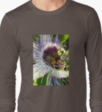 Close Up Of  Passion Flower with Honey Bee Long Sleeve T-Shirt