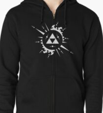 The legend of Zelda Triforce, White Zipped Hoodie