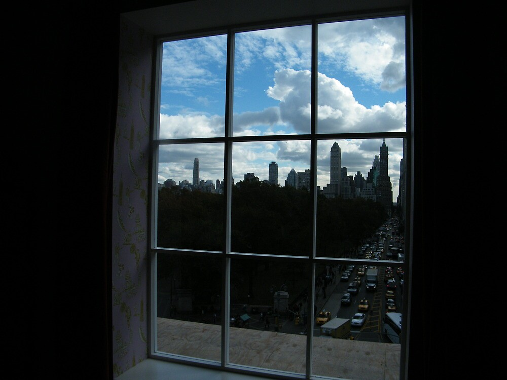 Window on Central Park, View from Discovering Columbus Art Exhibition, Columbus Circle, New York City  by lenspiro