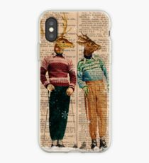 Antique Dictionary Page Snow Ski Deer iPhone Case