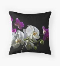 Purple and white orchid on black Throw Pillow