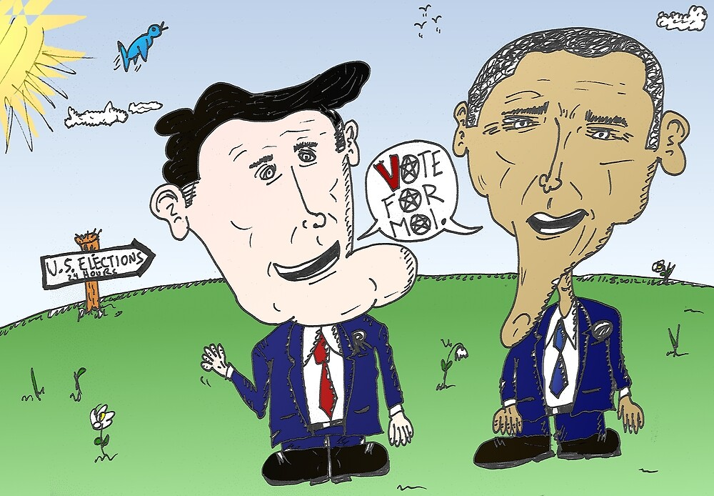 Caricature of Romney and Obama before Election Day by Binary-Options