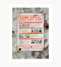Zombie Survival - Quick Start Guide Art Print