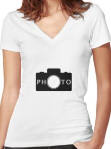 Photo camera Women's Fitted V-Neck T-Shirt