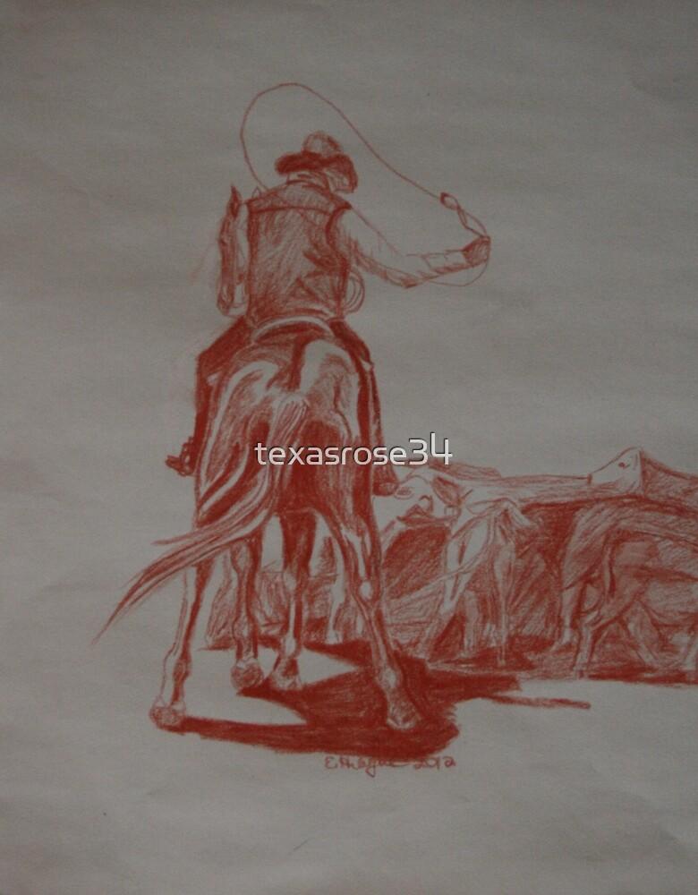 Red Series- Cowboy Draggin  Calves by texasrose34