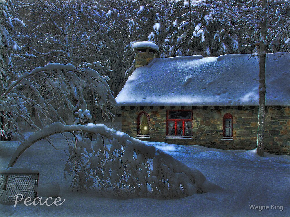 Peace, Moonlight on the Stone House Christmas card by Wayne King