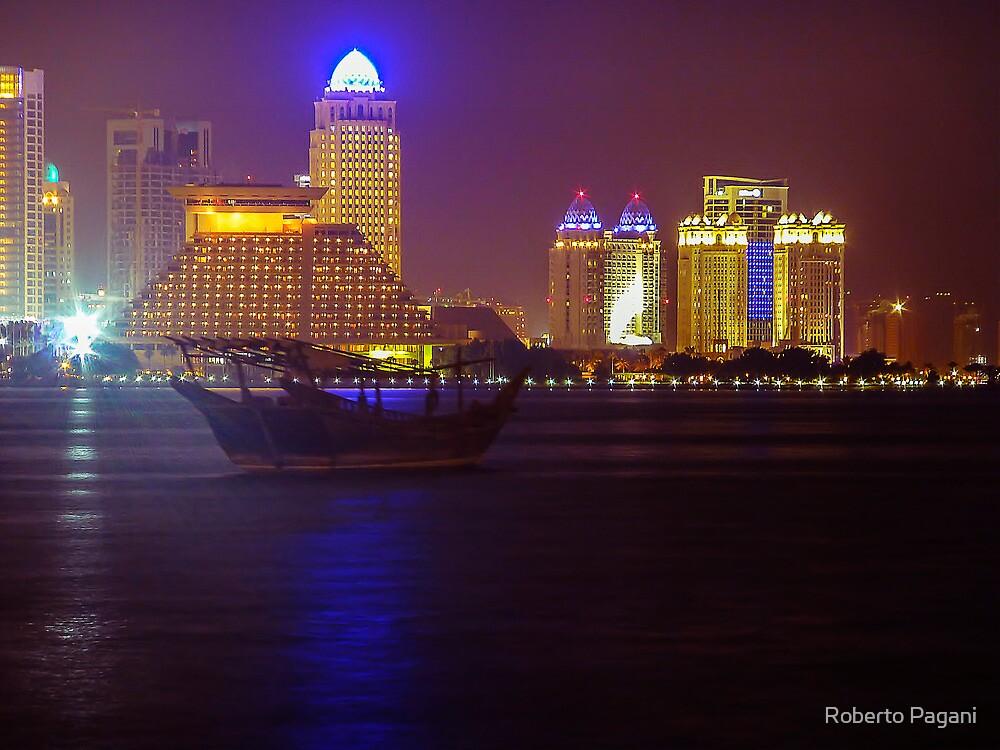 Doha skyline with boat by Roberto Pagani