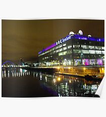Glasgow at night, BBC Building Poster