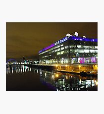 Glasgow at night, BBC Building Photographic Print