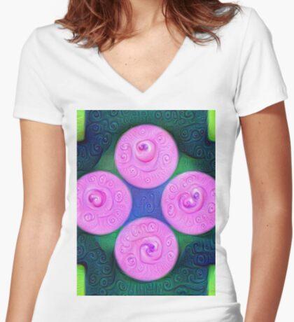 #DeepDream Color Squares Circles Visual Areas 5x5K v1448204645 Fitted V-Neck T-Shirt