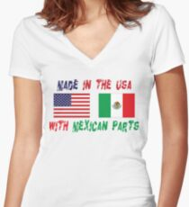 Made In America With Mexican Parts Women's Fitted V-Neck T-Shirt