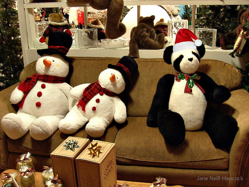 Panda and Snowmen Ready for Christmas by Jane Neill-Hancock