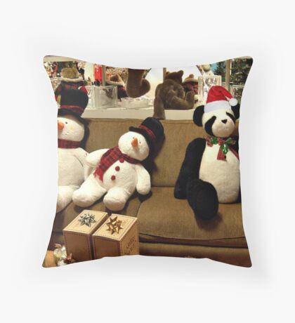 Panda and Snowmen Ready for Christmas Throw Pillow