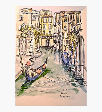 Venice, canal. Pen and wash 2010Ⓒ. Framed 42x32cm.  Photographic Print