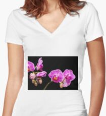 Pink Orchids Women's Fitted V-Neck T-Shirt