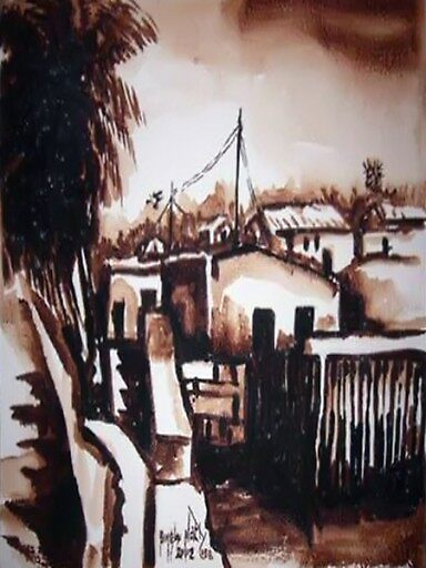 African Oil painting: African Village View by afrikboutik