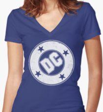 DC COMICS - VINTAGE WHITE Women's Fitted V-Neck T-Shirt