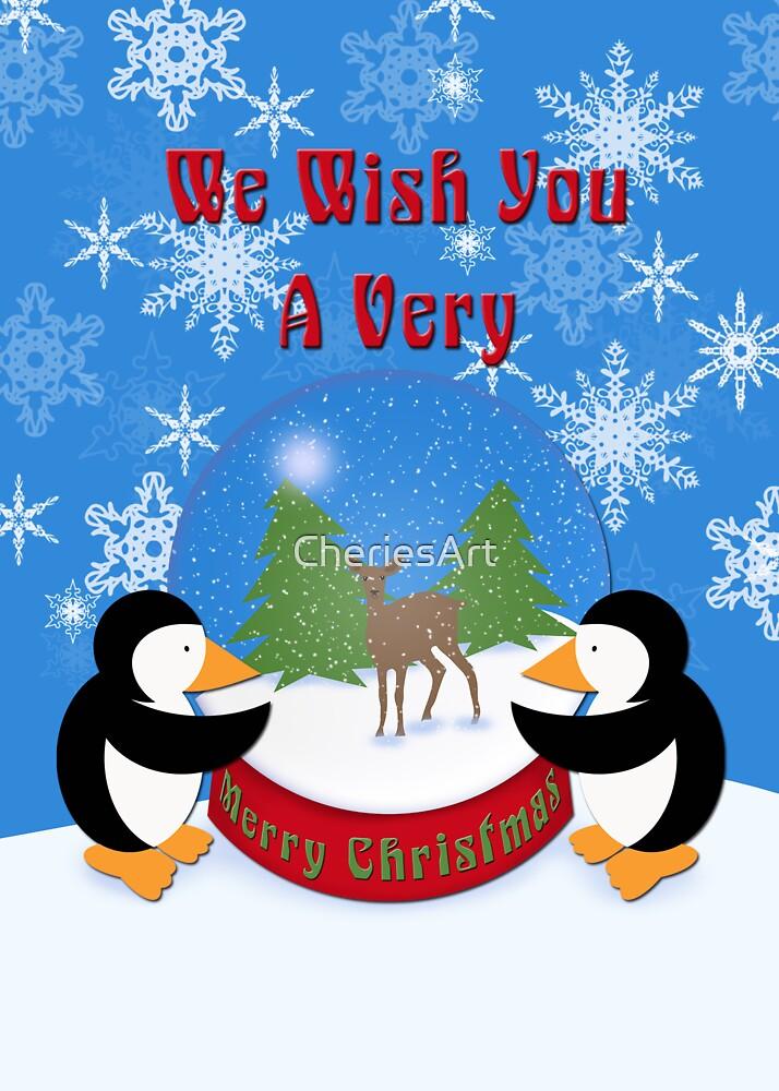 Merry Christmas Whimsical Penguins by Cherie Balowski