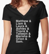 The Cast of Critical Role - Helvetica List (Inverted) Women's Fitted V-Neck T-Shirt