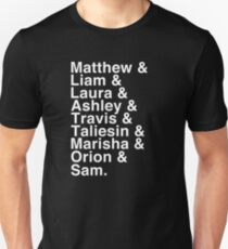 The Cast of Critical Role - Helvetica List (Inverted) T-Shirt
