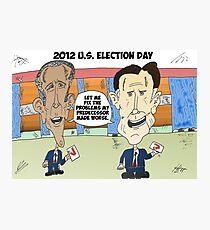 Obama Romney political cartoon Photographic Print