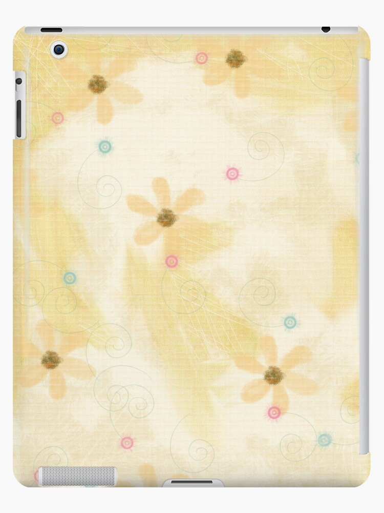 Soft Yellow Grunge Floral Art iPad Case by CheriesArt