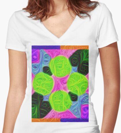 #DeepDream Color Squares Visual Areas 5x5K v1448212784 Fitted V-Neck T-Shirt