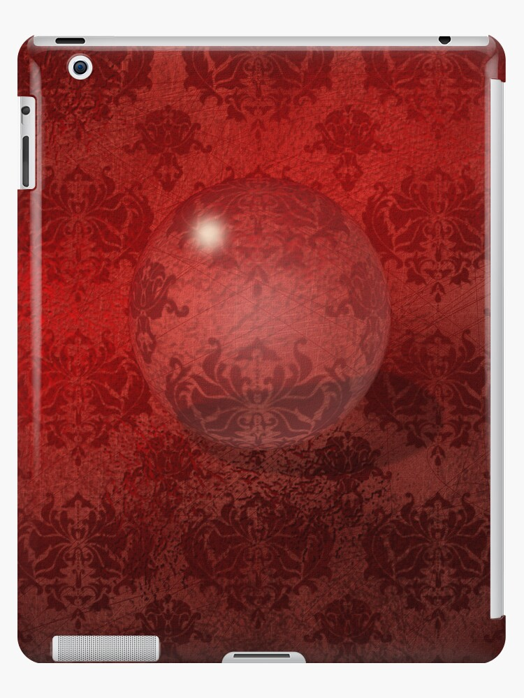 Red Damask Crystal Ball, iPad Case by CheriesArt