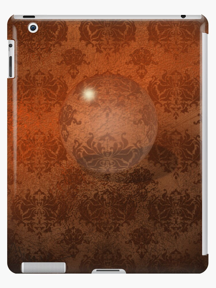 Brown Damask, Crystal Ball iPad Case by CheriesArt