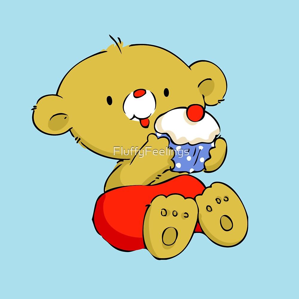 Christmas Bear eating Cupcake by FluffyFeelings