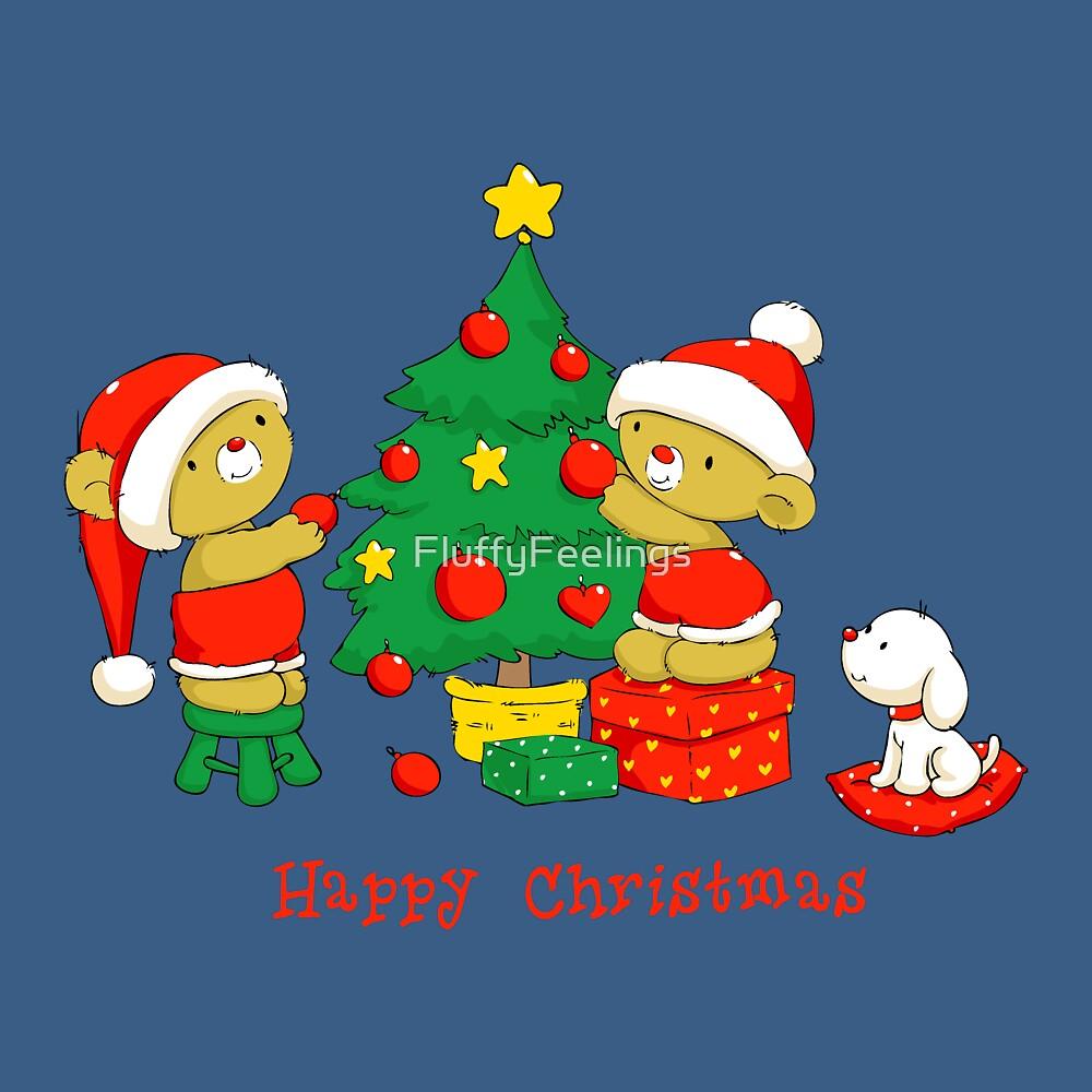 Christmas Bears decorating Tree by FluffyFeelings