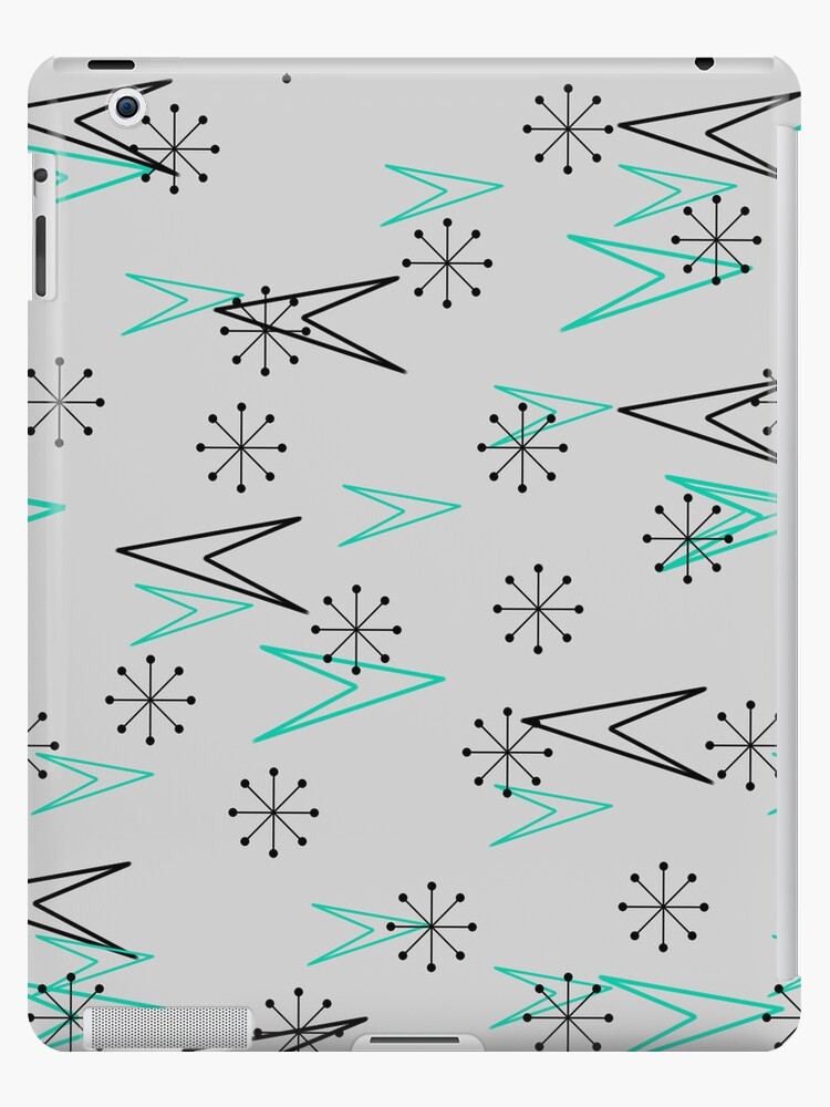 Gray Atomic Retro Fifties Patterns, iPad Case by CheriesArt