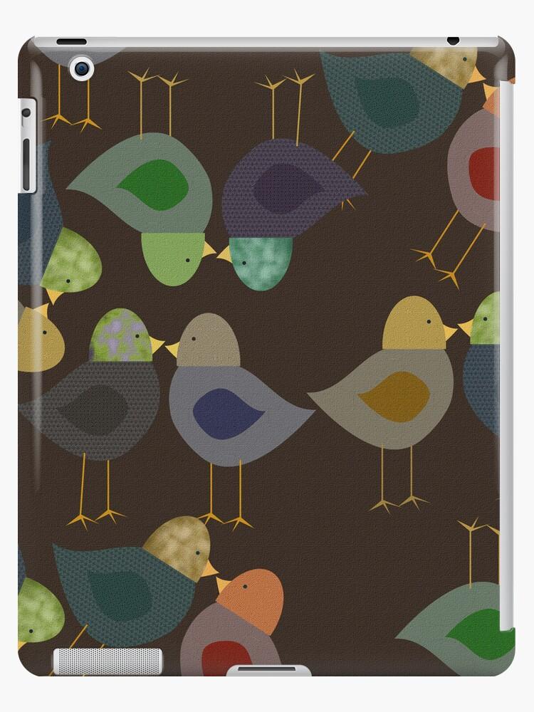 Brown Textured Look, Whimsical Birds iPad Case by CheriesArt