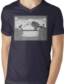 Super Mario Final Koopa Vintage Engraving Mens V-Neck T-Shirt