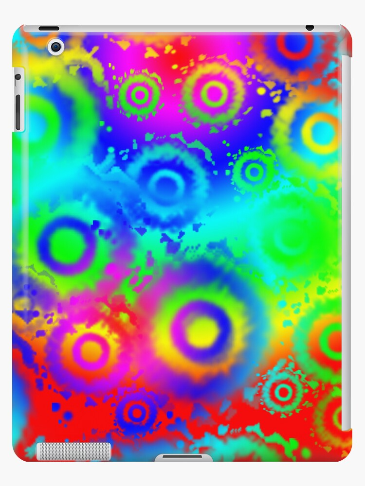 Rainbow Gradient, Tie Dyed Circles iPad Case by CheriesArt