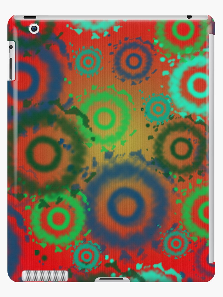 Red, Aqua, Gold Tie Dyed Circles Patterns, iPad Case by CheriesArt