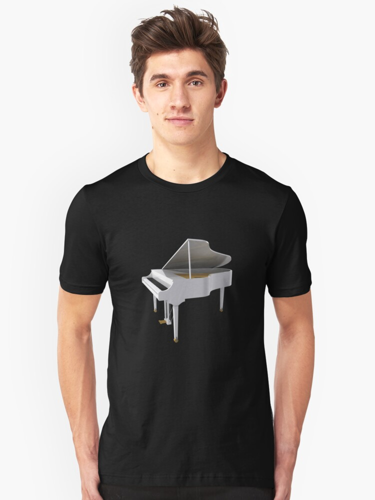 Grand Piano: White Finish Unisex T-Shirt Front