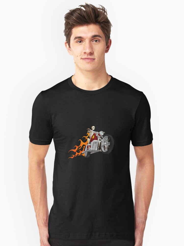 Skeleton Biker with Fire Graphics Unisex T-Shirt Front