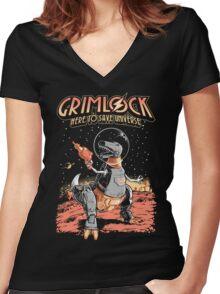 Space Pulp Robot Dinosaur Hero Women's Fitted V-Neck T-Shirt