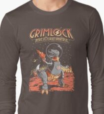 Space Pulp Robot Dinosaur Hero Long Sleeve T-Shirt