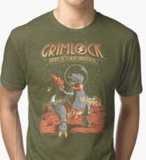 Space Pulp Robot Dinosaur Hero Tri-blend T-Shirt