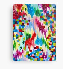'TIS THE SEASON - Cheerful Christmas Seasonal Holidays Abstract Acrylic Painting Chevron Snow  Canvas Print