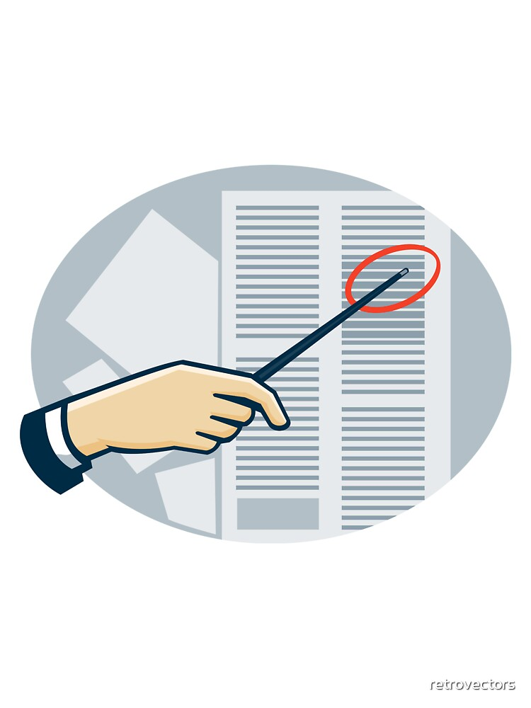 Hand With Pointer Pointing Data Sheet Retro by retrovectors