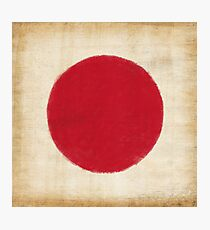 Japan flag painting in vintage style Photographic Print