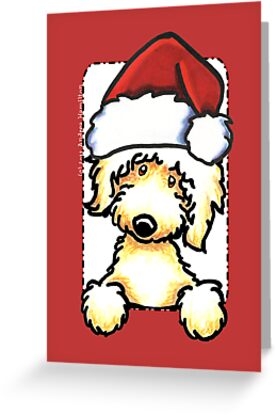 Yellow Labradoodle Christmas Greeting by offleashart