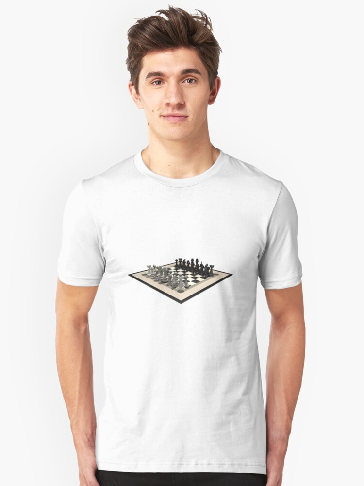 Chessboard & Chess Pieces Unisex T-Shirt Front